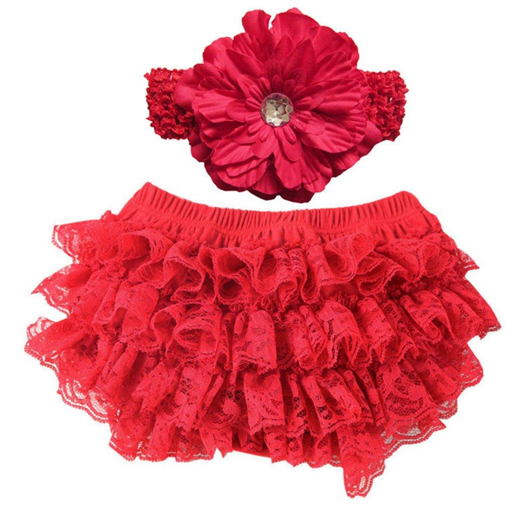 Hrph Cute New Baby Girl Bloomers Diaper Cover Headband Set Newborn Ruffle Panties Lace Infant Shorts