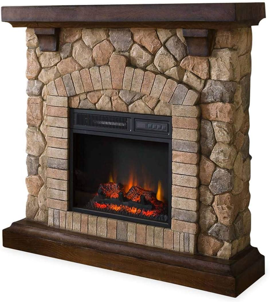 Plow Hearth Stacked Stone Free Standing Electric Fireplace Efficient Infrared Quartz Heater Remote Controlled Auto Off Timer Comes Fully Assembled Home Kitchen