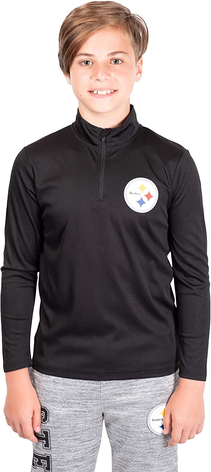 Ultra Game NFL Pittsburgh Steelers Youth Quarter-Zip Active Pullover Shirt 8 Team Color