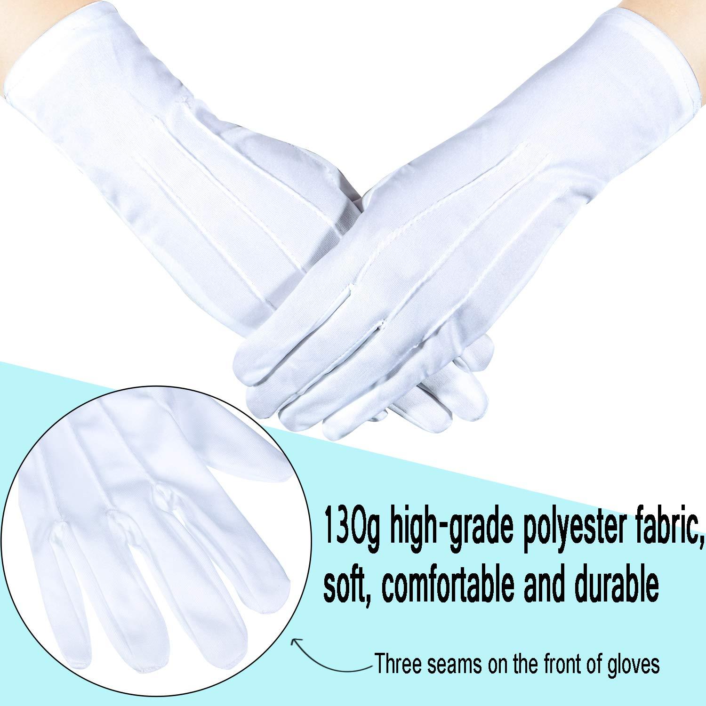 8 Paia Bianco Nylon Guanti di Cotone Costume Uniforme Polizia Parata Guanti Formale Abito da Sera Onore Guardia Parata per Donne Uomini