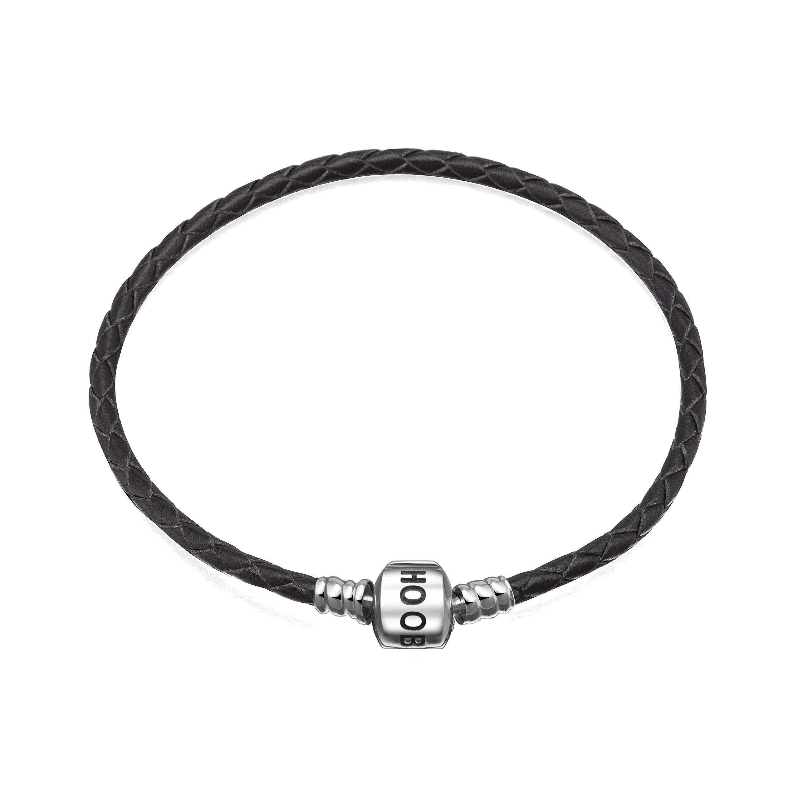 Hoobeads-Jewelry-Black-Leather-Champagne-Bracelet-925-Sterling-Silver-Barrel-Clasp-Bracelet