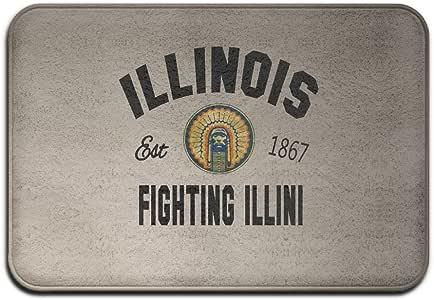 VDSEHT NCAA Illinois Fighting Illini UIUC Learning And Labor Logo Non-slip Doormat