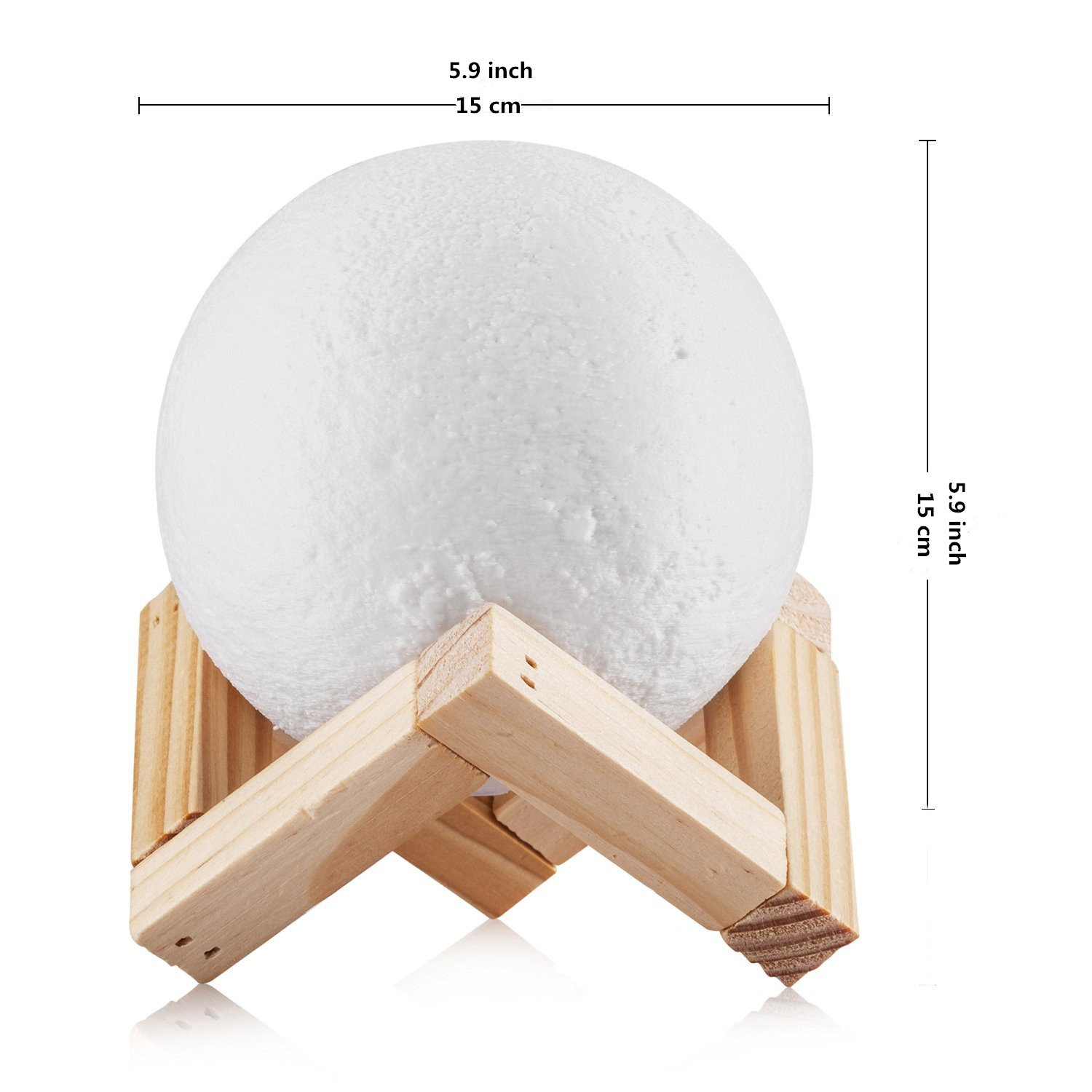 5.9 inch Moon Light 3D Printing Moon Lamp ,Touch Switch Color Changing USB Rechargeable Lunar Night Light Dimmable Table Lamp with Wooden Mount Kids Room Home Decor Christmas Gift