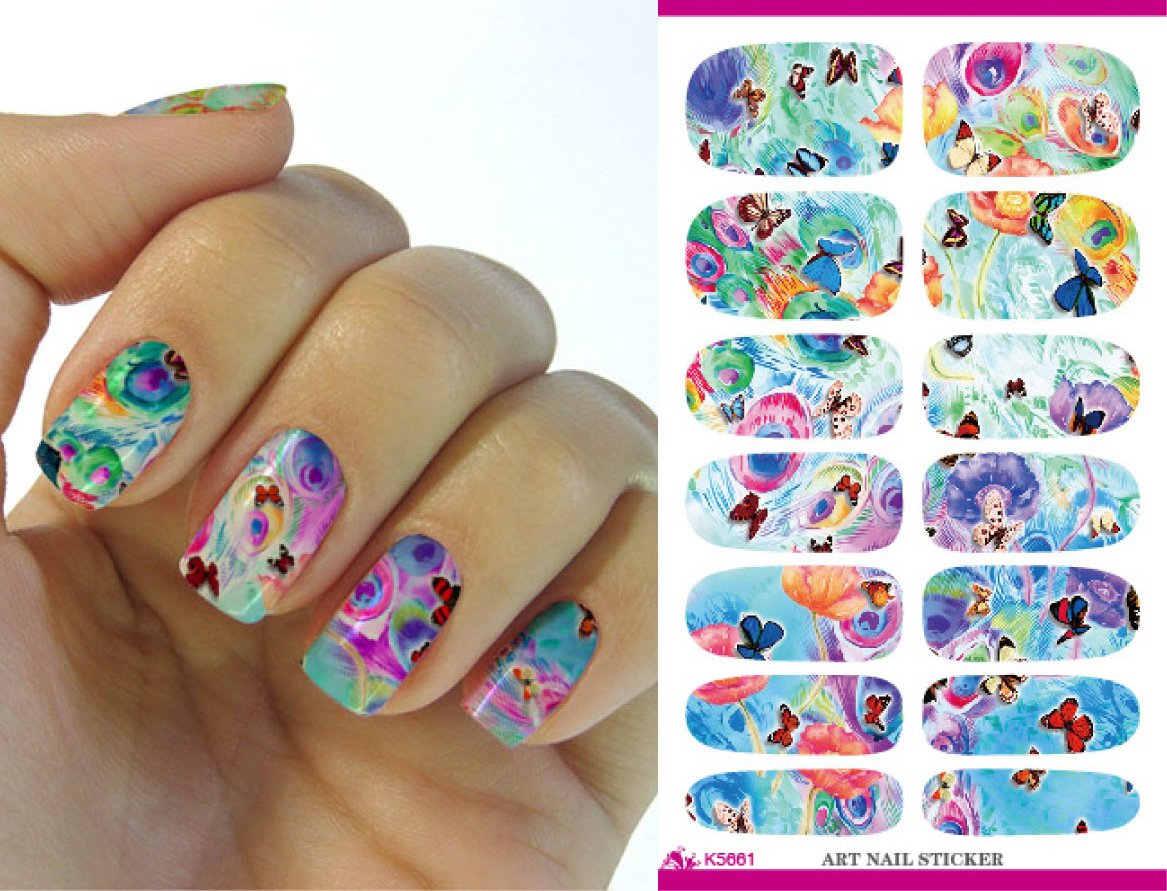 Full Wrap Nail Art Water Transfer Decal Sticker Colourful Flower #9 Nail Sticker Tattoo - FashionDancing