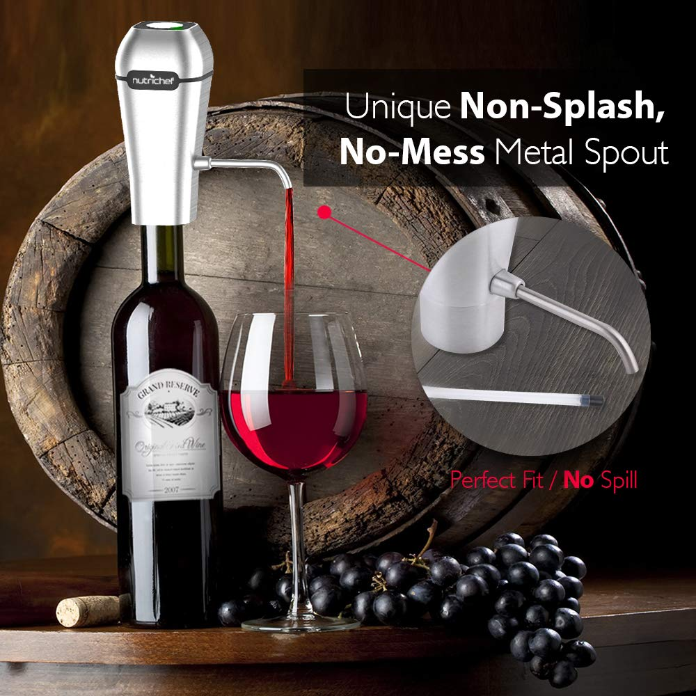 NutriChef Stainless Steel Electric Wine Aerator - Rechargeable Battery Pocket and Travel Bottle Tap Aerating Dispenser Pump Set and Accessories   Red/White Wine -PSLWPMP250, One Size by NutriChef (Image #5)