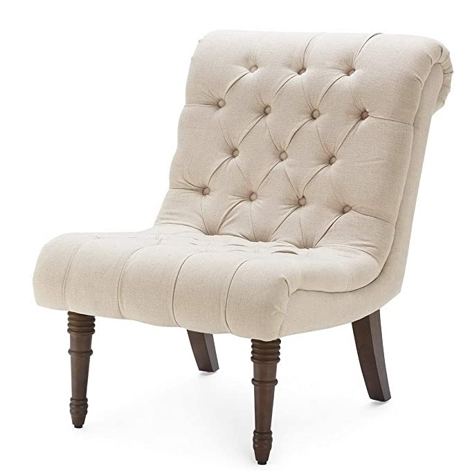Amazon.com: Hebel Mid Century Modern Chair Upholstered Accent Button Tufted Wood Legs Beige/Gray | Model CCNTCHR - 468 |: Kitchen & Dining