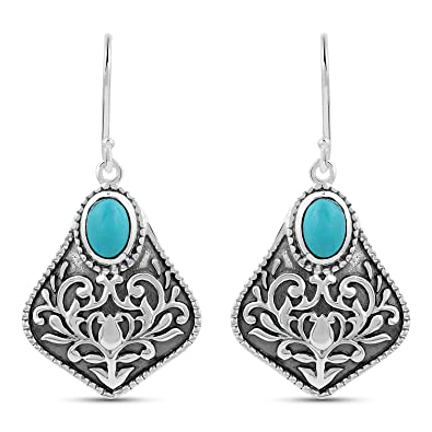 41d655358 Image Unavailable. Image not available for. Color: 1.3 Carat Genuine Turquoise  Earrings in .925 Sterling Silver(Dangle ...