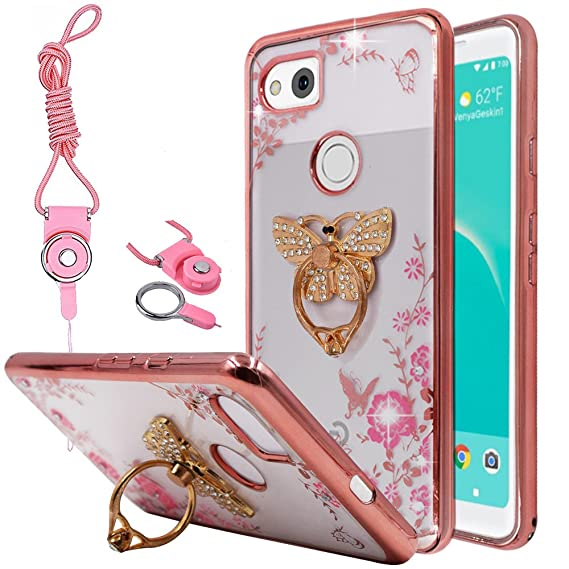 separation shoes 9ca9d c8eb0 Best Alice for Google Pixel 2 XL (2017) Case, Slim Fit Soft Gel Clear Bling  Case Rose Gold Metal Plating Bumper Cover & Lanyard Neck Strap Cord, ...