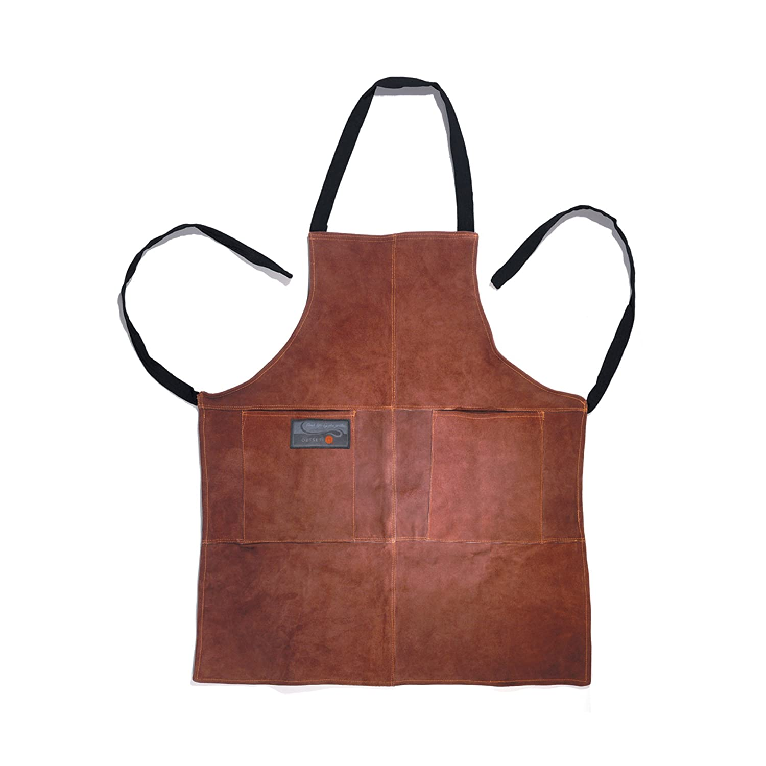 Outset Leather BBQ Grill Bib Apron Kitchen Cooking Barbeque Chef NEW F240