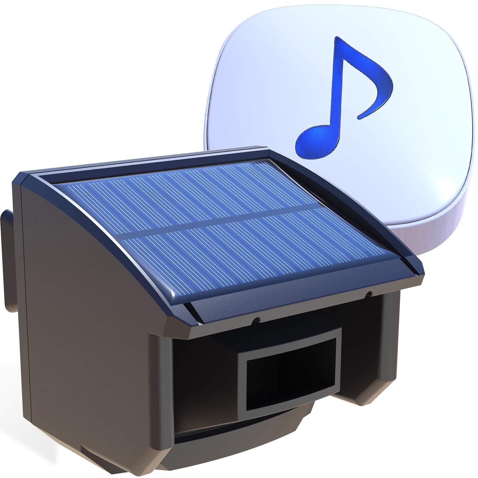 Htzsafe Solar Driveway Alarm System-1/4 Mile Long Transmission Range-Solar Powered No Need Replace Batteries-Outdoor Weatherproof Motion Sensor&Detector DIY Security Alert System by HTZSAFE
