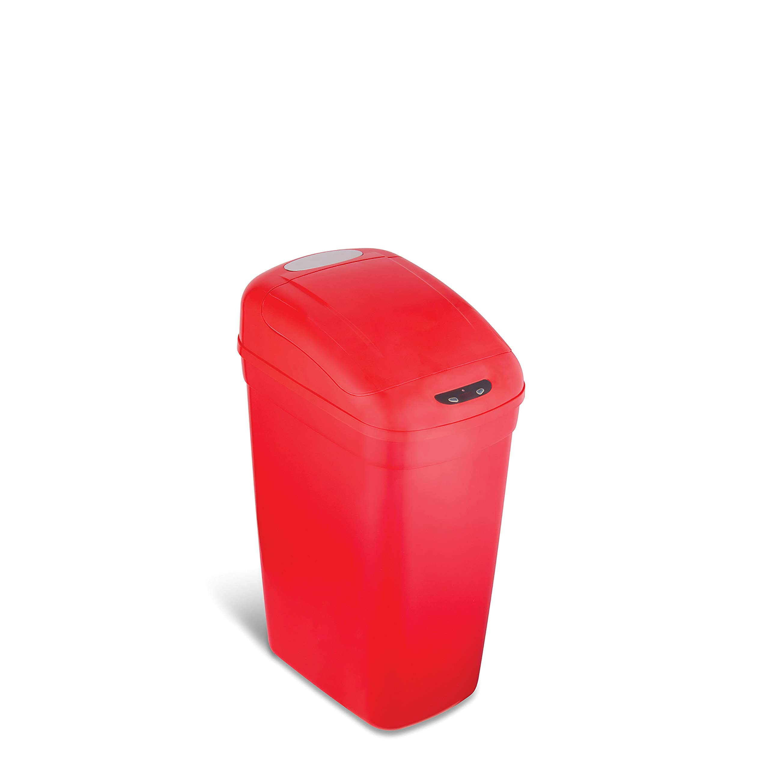 NINESTARS DZT-27-1R Automatic Touchless Infrared Motion Sensor Trash Can, 7 Gal 27L, (Rectangular, Red Lid)