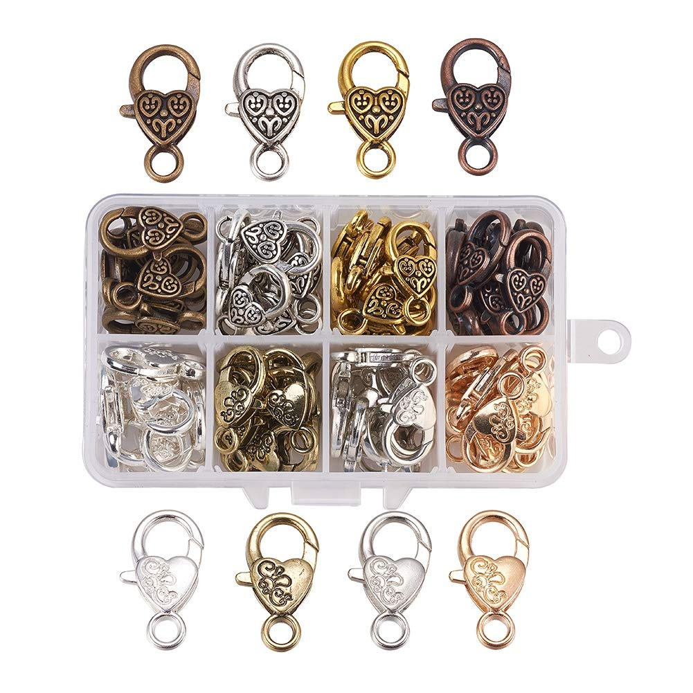 Kissitty 80Pcs Mixed Colors Tibetan Alloy Large Heart Lobster Claw Clasps 25.5~26.5mm Jewelry Bracelet Necklace Keychain Making End Clasps by KISSITTY