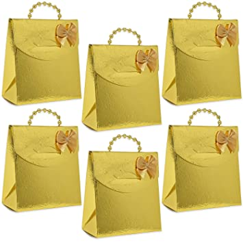 50 Mini Gold Party Favor Gift Bags with Gold Pearl Handles Boxes for Candy Bag Cookie  sc 1 st  Amazon.com & Amazon.com: 50 Mini Gold Party Favor Gift Bags with Gold Pearl ...
