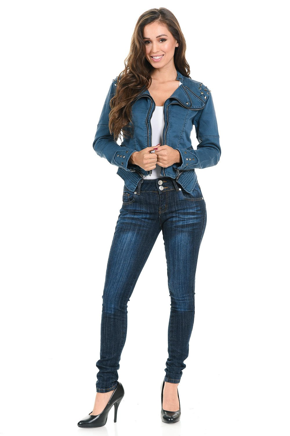 Sweet Look Women's Denim Jacket - Style N559A - Blue - Size Medium