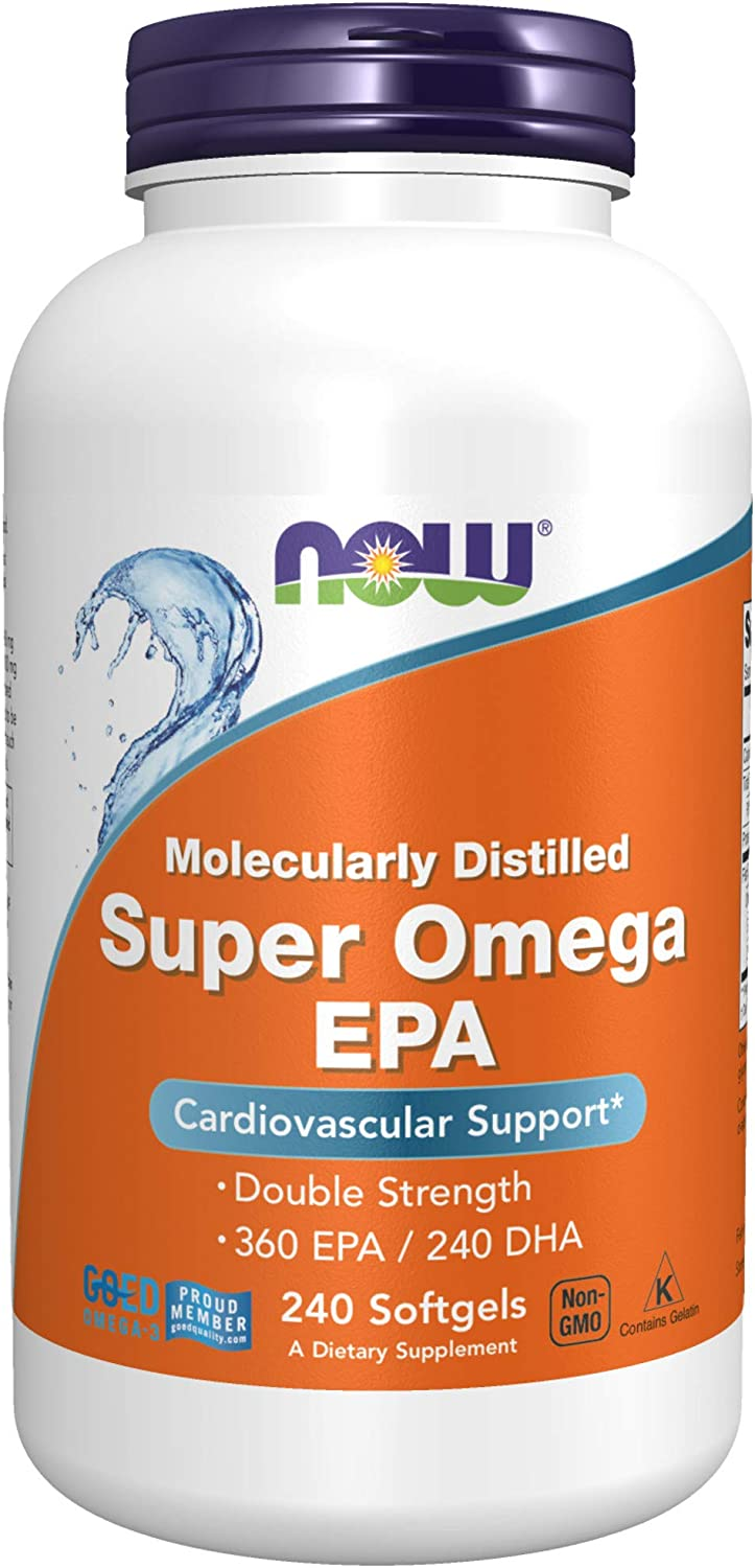 NOW Supplements, Super Omega EPA, 360 EPA / 240 DHA, Molecularly Distilled, Cardiovascular Support*, 240 Softgels