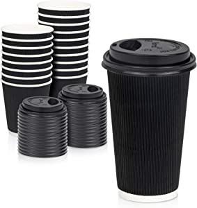 [50 Pack] Disposable Hot Cups with Lids - 16 oz Black Double Wall Insulated Ripple Sleeves Coffee Cups with Black Dome Lid - Kraft Paper Cup for To Go Chocolate, Tea, and Cocoa Drinks