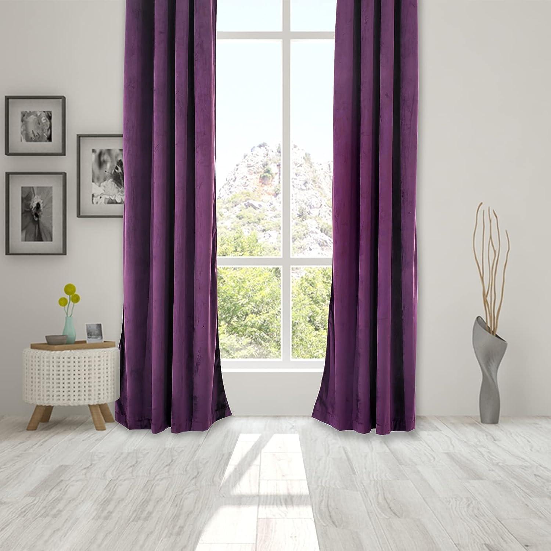 Wisewater Blackout Window Curtain,Velvet Curtains Grommet Blackout Curtains Luxury Window Treatment 2 Panels Light Blocking Curtain Thermal Drapes (Purple, 52