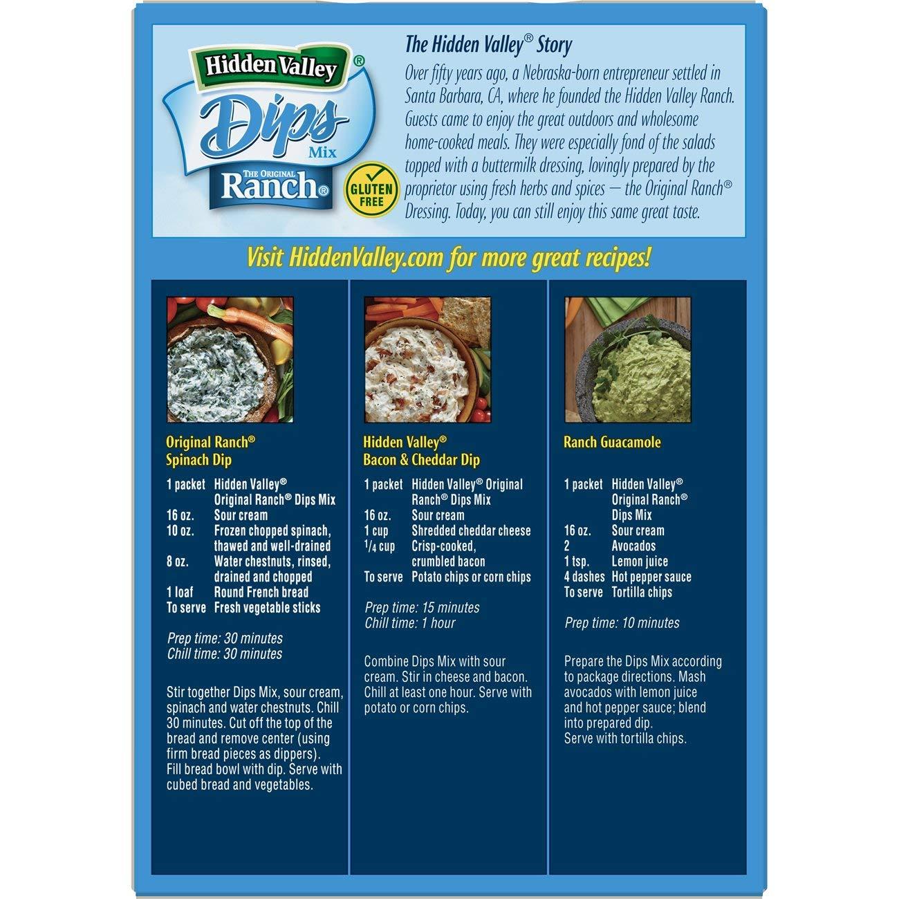 Hidden Valley Original Ranch Dips Mix Gluten Free Keto Friendly 4 Packets