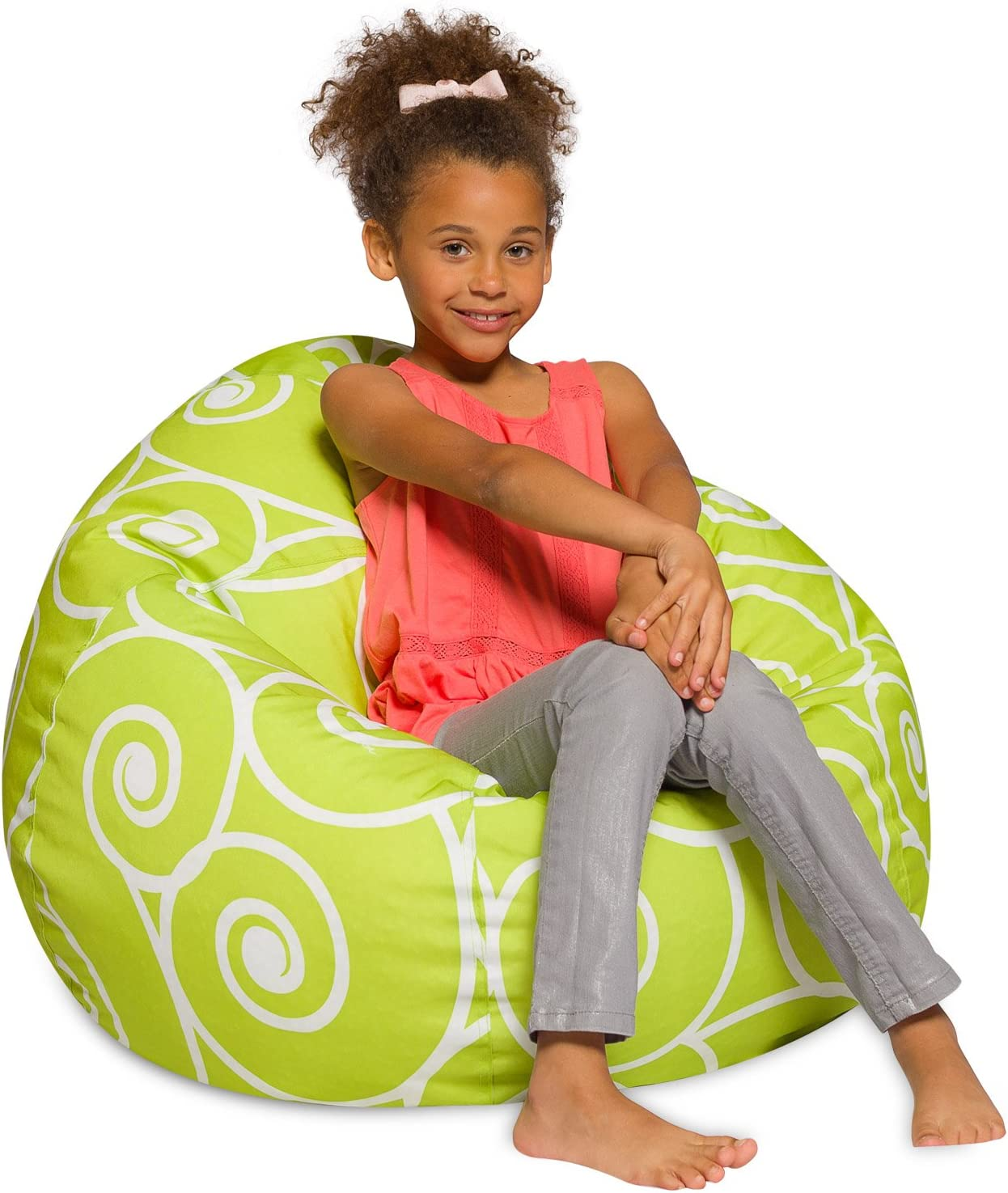 Posh Creations Big Comfy Bean Bag Posh Large Beanbag Chairs with Removable Cover for Kids, Teens and Adults Polyester Cloth Puff Sack Lounger Furniture for All Ages, 38in, Swirls Lime and White