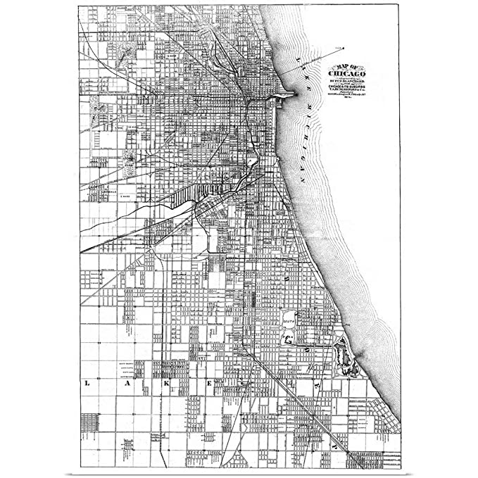 Amazon Com Greatbigcanvas Poster Print Entitled Map Of Chicago
