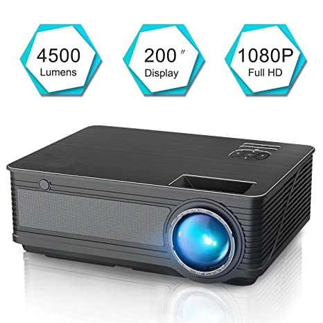 JHSHENGSHI Proyector, Mini Portátil Video Proyector 4500 Lúmenes ...