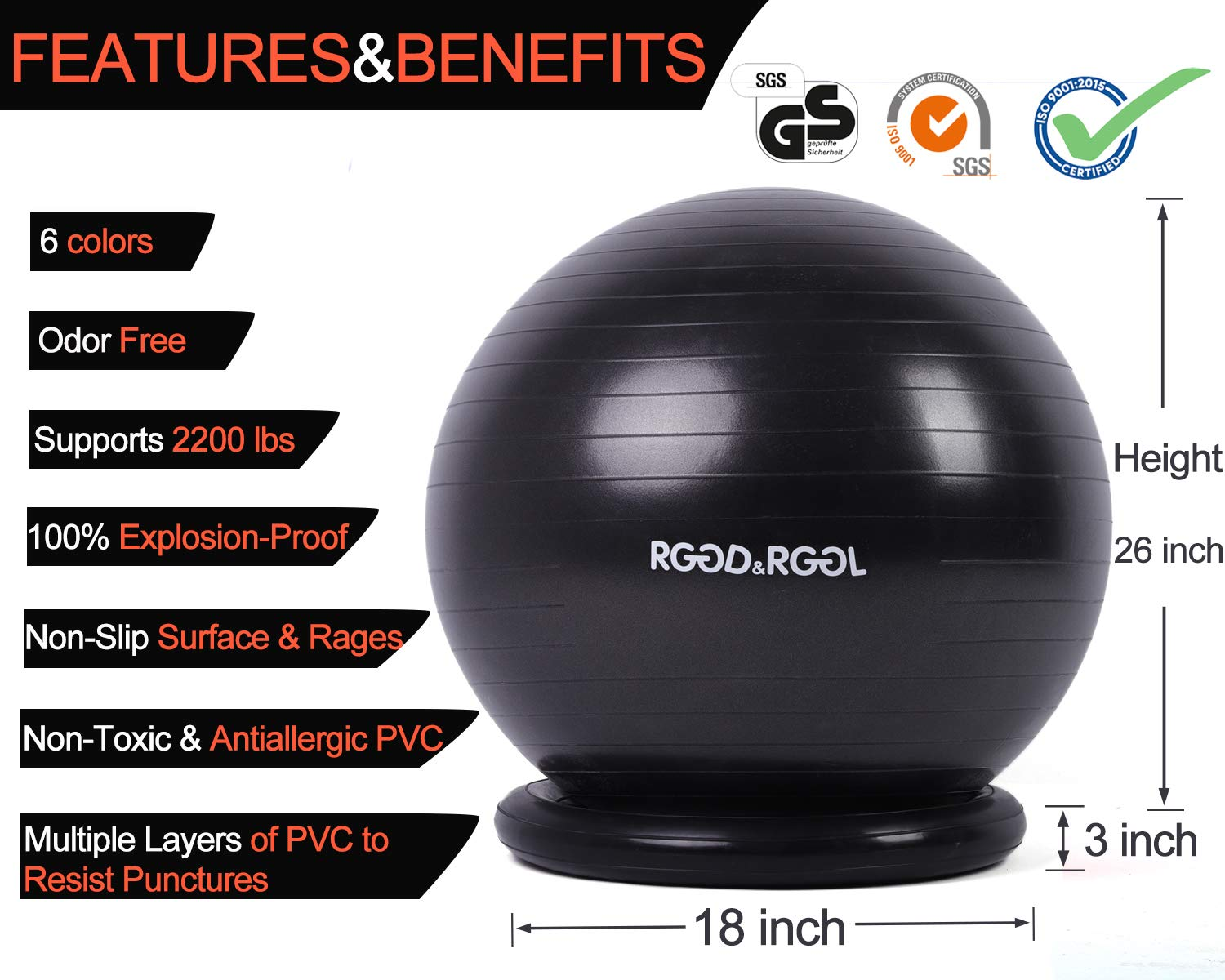 RGGD&RGGL Yoga Ball Chair, Exercise Balance Ball Chair 65cm with Inflatable Stability Ring, 2 Resistant Bands and Pump for Core Strength and Endurance by RGGD&RGGL (Image #3)