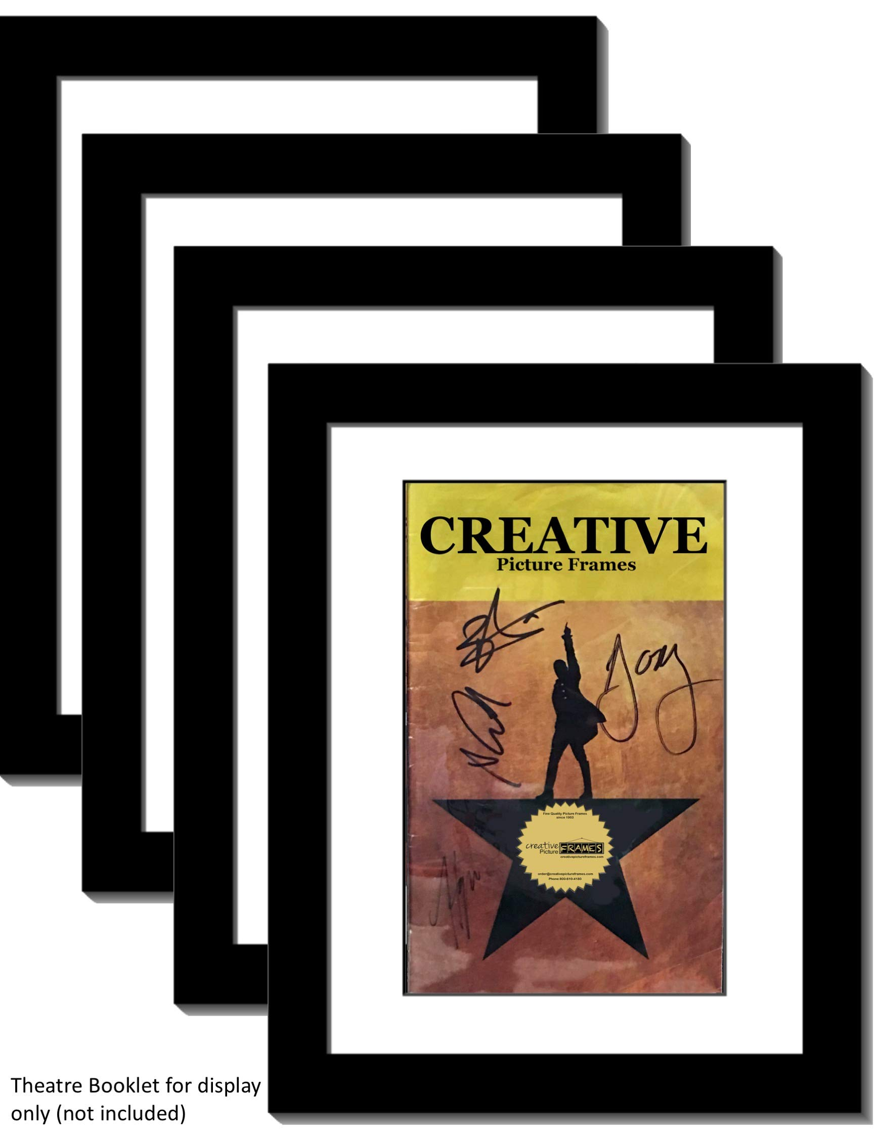 Creative Picture Frames [4pk8.5x11bk-w Black Theatre Frame with White Matting to Holds 5.5x8.5-inch Media with Installed Hanger and Stand (Theatre Bill Not Included Pack of 4)