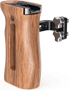 SMALLRIG Camera Wooden Hand Grip Universal for Both Right and Left Side Handle with Cold Shoe Mount, Threaded Holes (for Left and Right Hands)– 2093