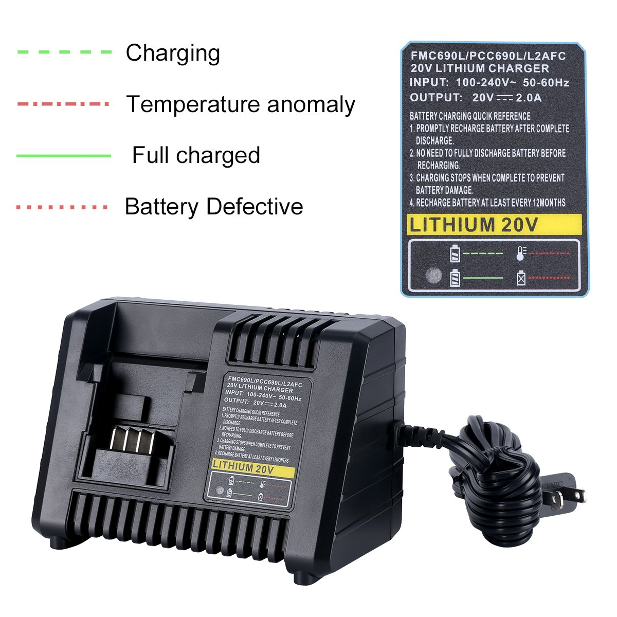 Biswaye 20v Lithium Battery Charger Bdcac202b For Black And Decker Fast Charging Circuit Batterycharger Powersupply Porter Cable Stanley Ion
