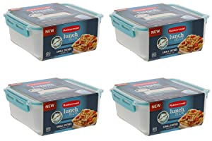 Rubbermaid LunchBlox Leak Proof Small Entree Container with Lid -BPA Free, Stackable Lunch Box with Airtight Seal and Durable Latches-Great for Home, School Lunches, On the Go - 2.6 Cup, Blue (4 Pack)