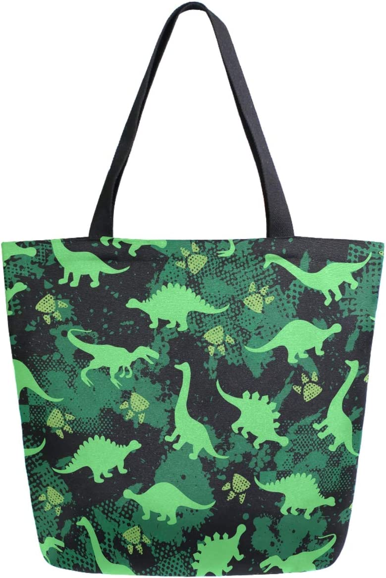 ZzWwR Stylish Green Dinosaurs Footprint PatternExtra Large Canvas Market Beach Travel Reusable Grocery Shopping Tote Bag Portable Storage HandBags