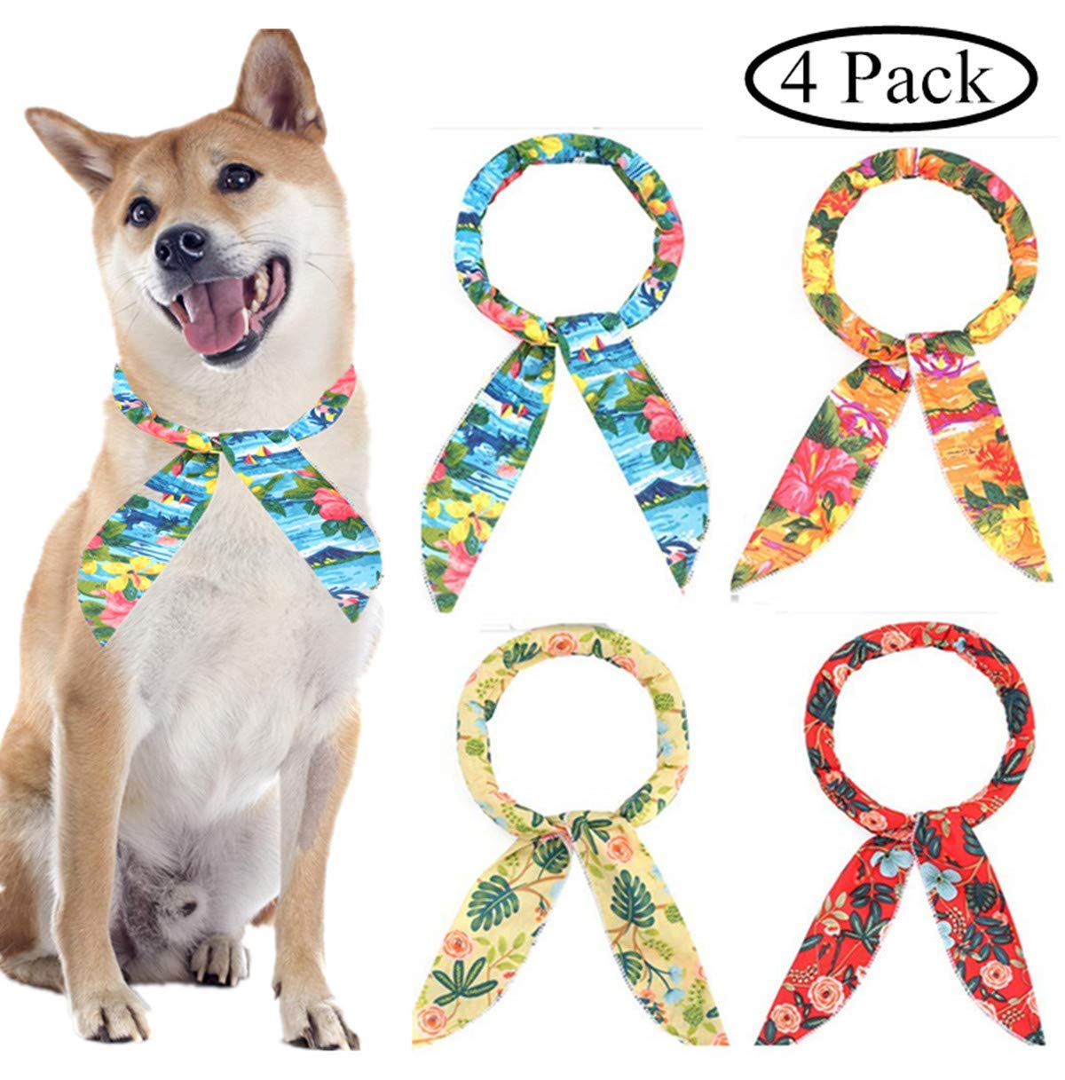 FT.Sky Dog Cooling Bandana Summer - 4 Pack Cooling Collar for Dogs Cooling Neck Wrap Headband