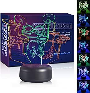 HIPIYA Drum LED 3D Illusion Lamp USB Optical Band Night Light Colorful Christmas Present Birthday Gift for Boy Boyfriend Kid Rock and Roll Musical Singer Decoration Room Bedroom Decor (Drum)