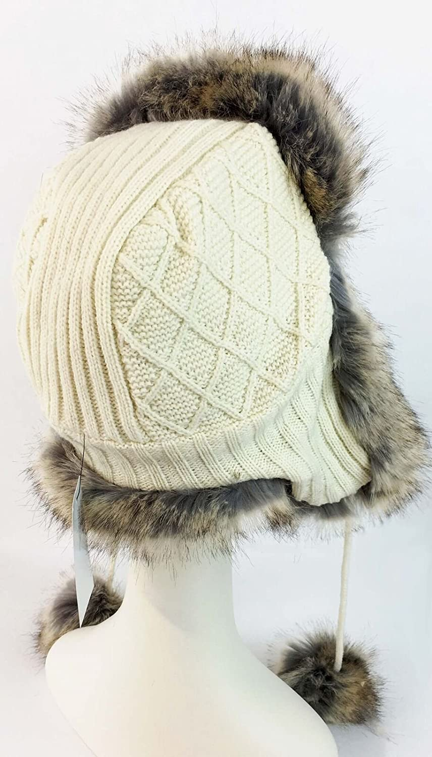 surell Faux Fur Knit Trooper with Faux Coyote Fur Pom Womens Winter Fashion Ivory