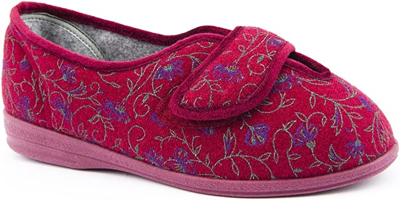 Ladies Cosyfeet Wide Fit Olivia Red