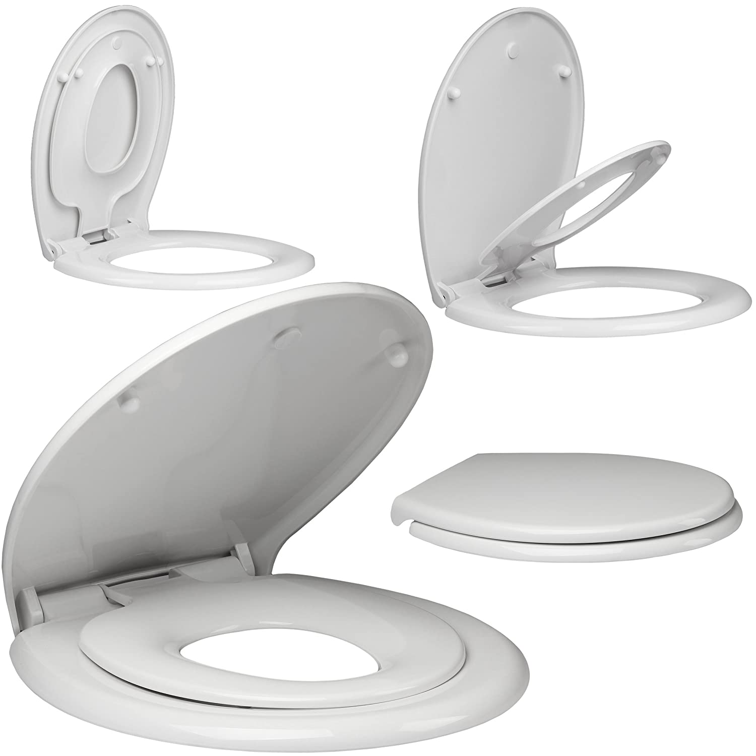 EcoSpa Parent & Child Toilet Seat with smooth Top Fitting Hinges that is Super Easy to Install and keep Clean. Anti-Slam Lid & Seat Feature that stays in place. Very sturdy with no warping or bowing.