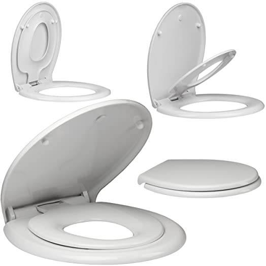non slam toilet seat. EcoSpa Parent  Child Toilet Seat with smooth Top Fitting Hinges that is Super Easy to