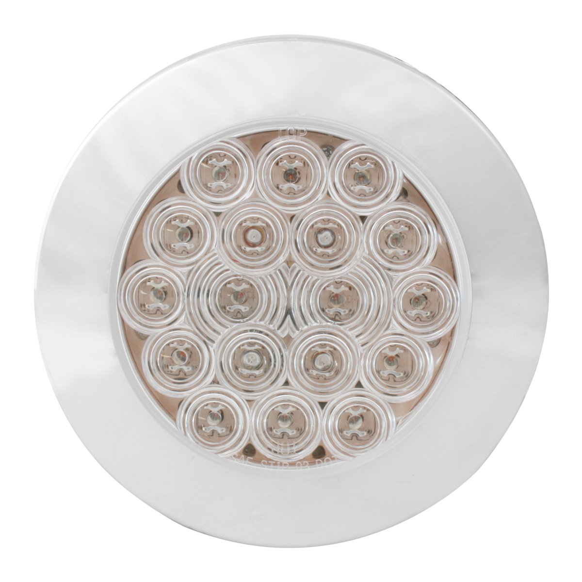 4 Round Flange Mount Amber 18 with Clear Lens and Chrome Twist-On Bezel Grand General 75901 LED Light