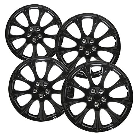 Hubcaps 14 inch Wheel Covers - (Set of 4) Hub Caps for 14in Wheels Rim Cover - Car Accessories Ice Black Hubcap Best for 14inch Cars Standard Steel Rims ...