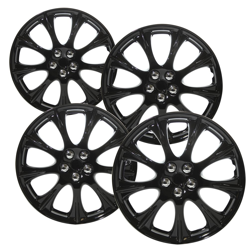 Hubcaps for 14 inch Standard Steel Wheels (Pack of 4) Wheel Covers - Snap On, Ice Black