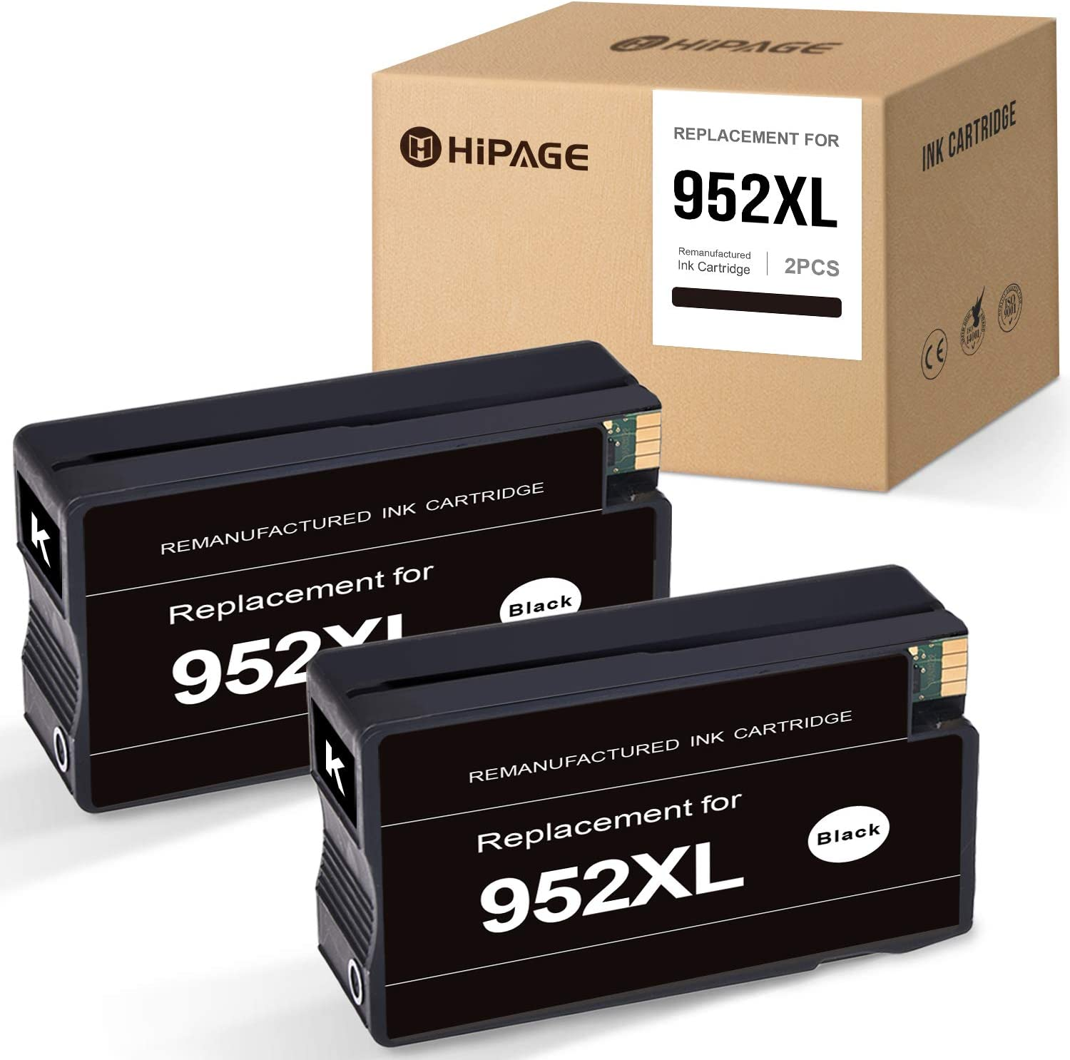 HIPAGE Remanufactured Ink Cartridge Replacement for HP 952XL 952 XL High Yield Combo Pack for OfficeJet Pro 8710 8720 8702 7740 8715 8740 8210 7720 8730 8725 8216 (Black, 2-Pack)