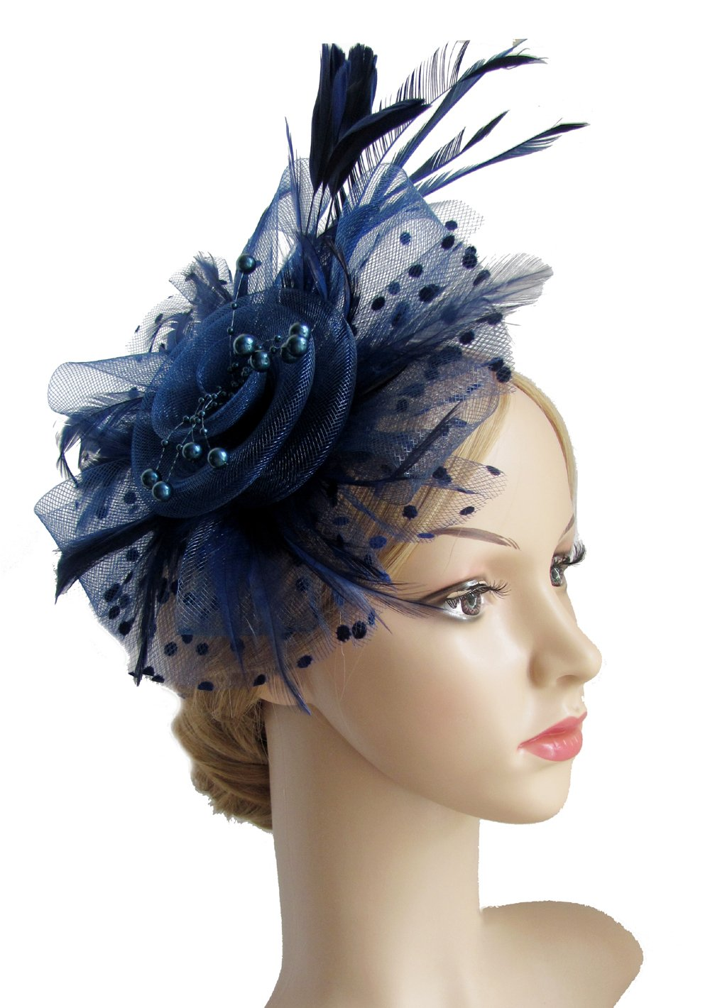 Flower Cocktail Tea Party Headwear Feather Fascinators Top Hat for Girls and Women(D.Blue)