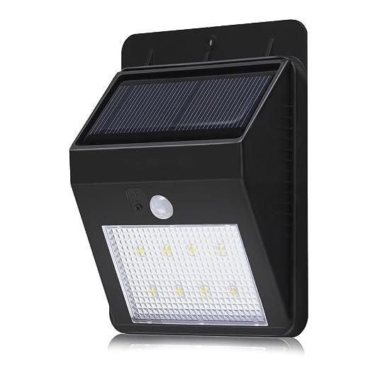 8 LED lámpara solar, KINGCOO Luminaire Exterieur detector de movimiento luz impermeable lámpara de pared