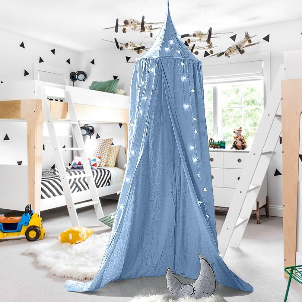 Baby Baldachin Betthimmel Kinder Babys Bett Baumwolle Hängende Moskiton für Schlafzimmer Ankleidezimmer Spiel Lesen Zeit Höhe 240 cm Saumlänge 270cm (Blau) XHD
