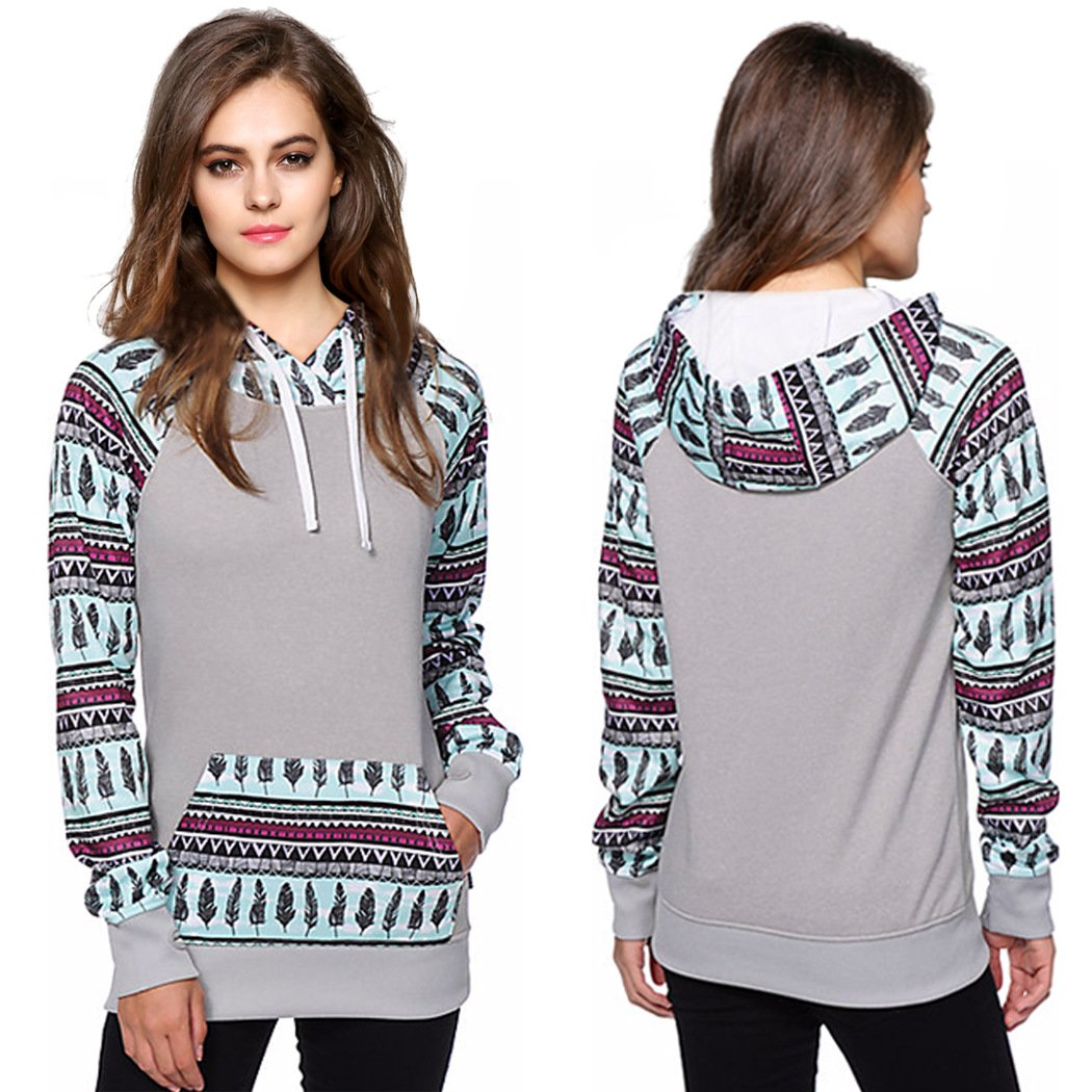 LuShmily Ladies Hooded Pullover Grey L