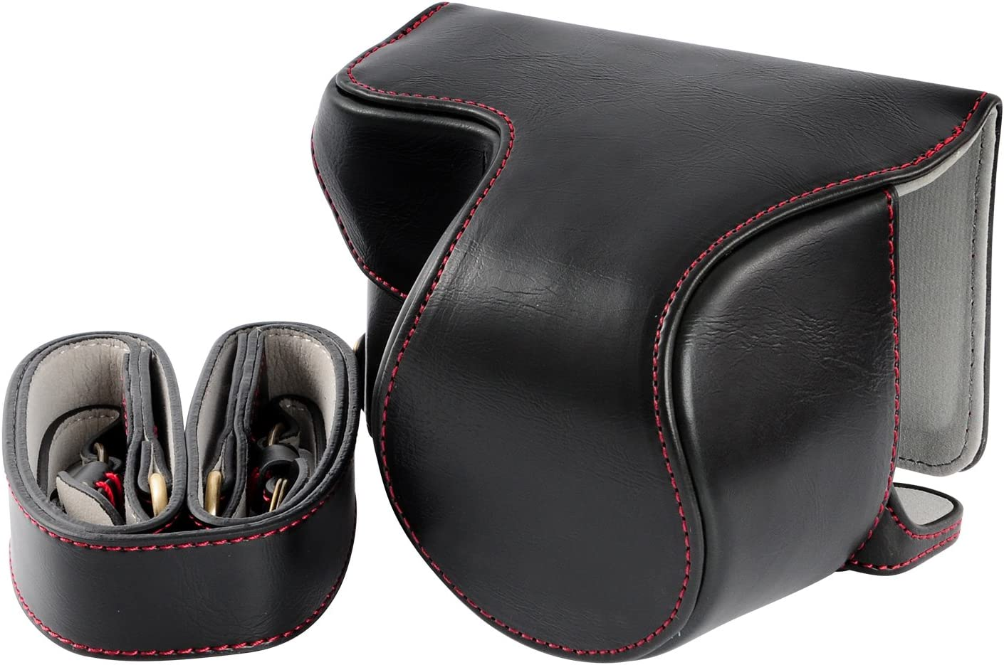 Hwota Handmate Premium PU Full Body Leather Camera Case Bag For Sony Alpha A6000 A6300 Fit 16-50mm Lens Neck Strap Black