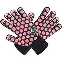 JH Heat Resistant Oven Mitts: EN407 Certified 932 °F, 2 Layers Silicone Coating, Black Shell with Coral Coating, BBQ…