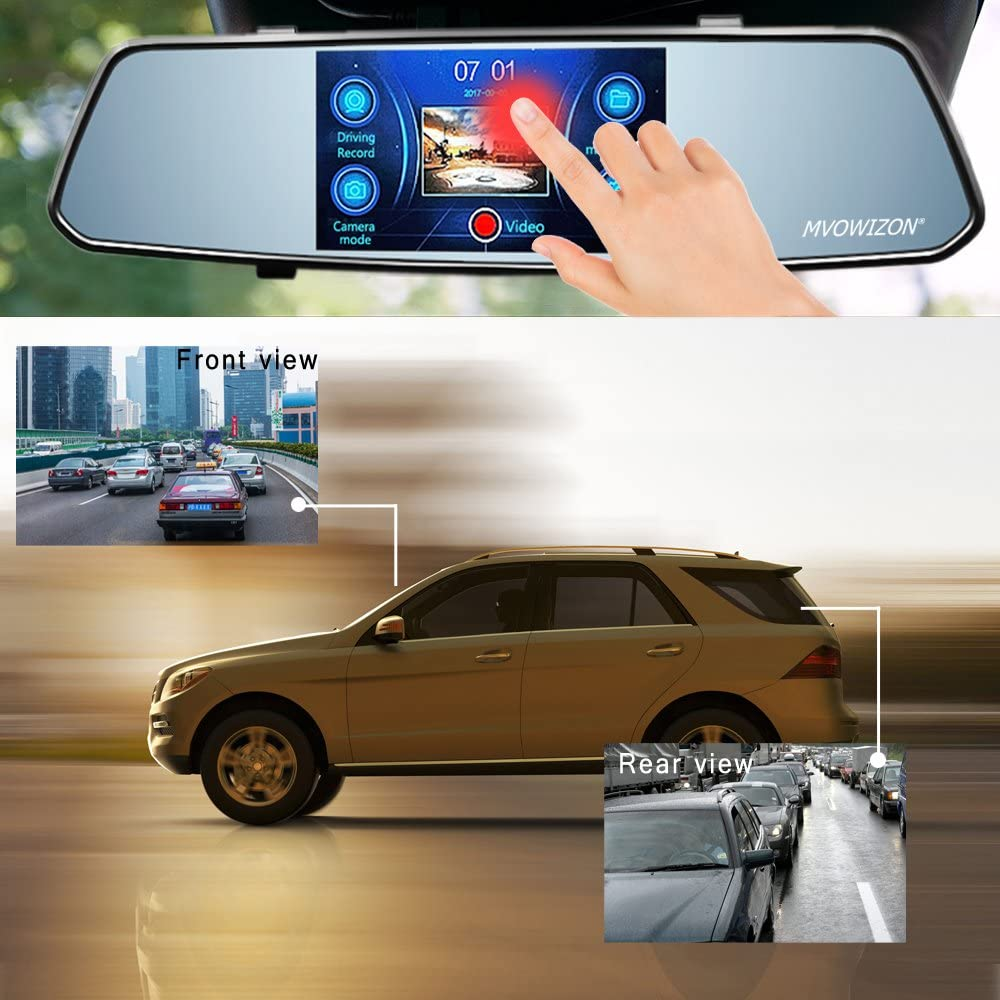 MV30-1 MVOWIZON Dash Cam 5 Touch Screen Car Camcorder 1080P LCD Display Recorder with 150 Degree Viewing Angles Built-in G-Sensor Night Vision Recording Loop Recording and Parking Monitoring