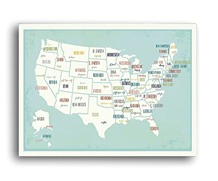 USA Wall Map Art Print, 24x36 Inch Print,kid\'s USA Wall Map,children\'s Room  Decor, Gender Neutral Nursery, Travel Nursery Decor,united States of ...