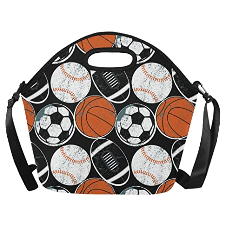 604b3e3672ca InterestPrint Retro Soccer Basketball American Football Large Reusable  Insulated Neoprene Lunch Tote Bag Cooler 15.04
